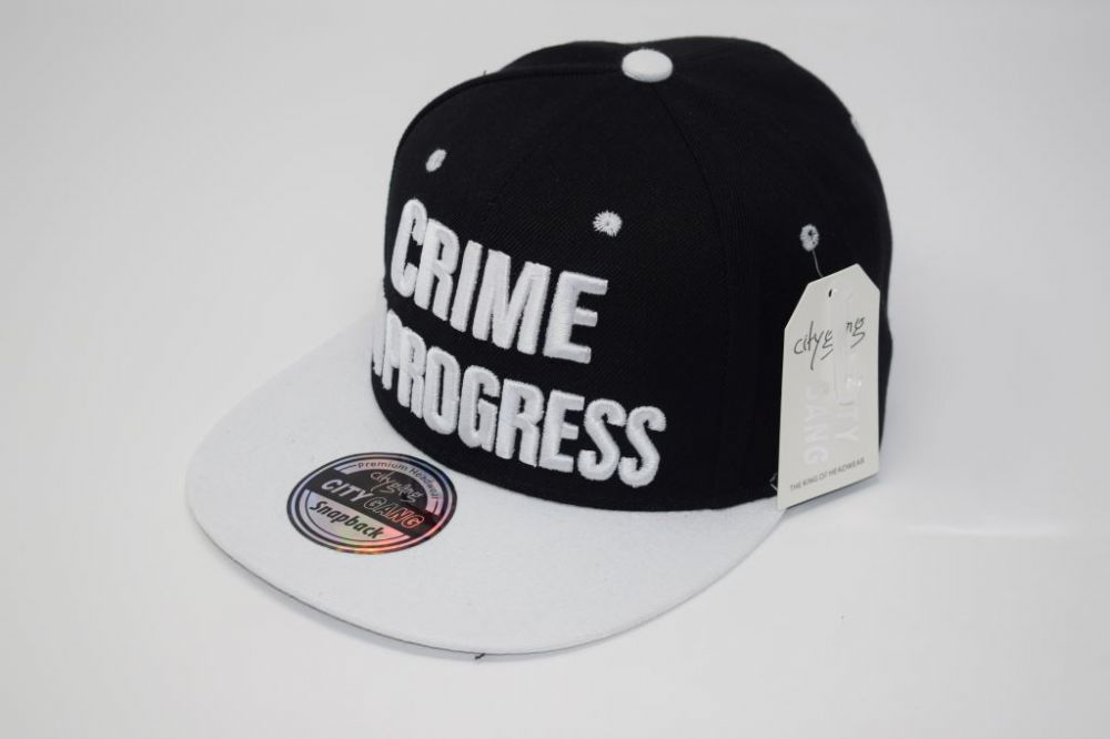 C4888- 'CRIME IN PROGRESS' Black/White Snapback Cap one size fits all adjustable